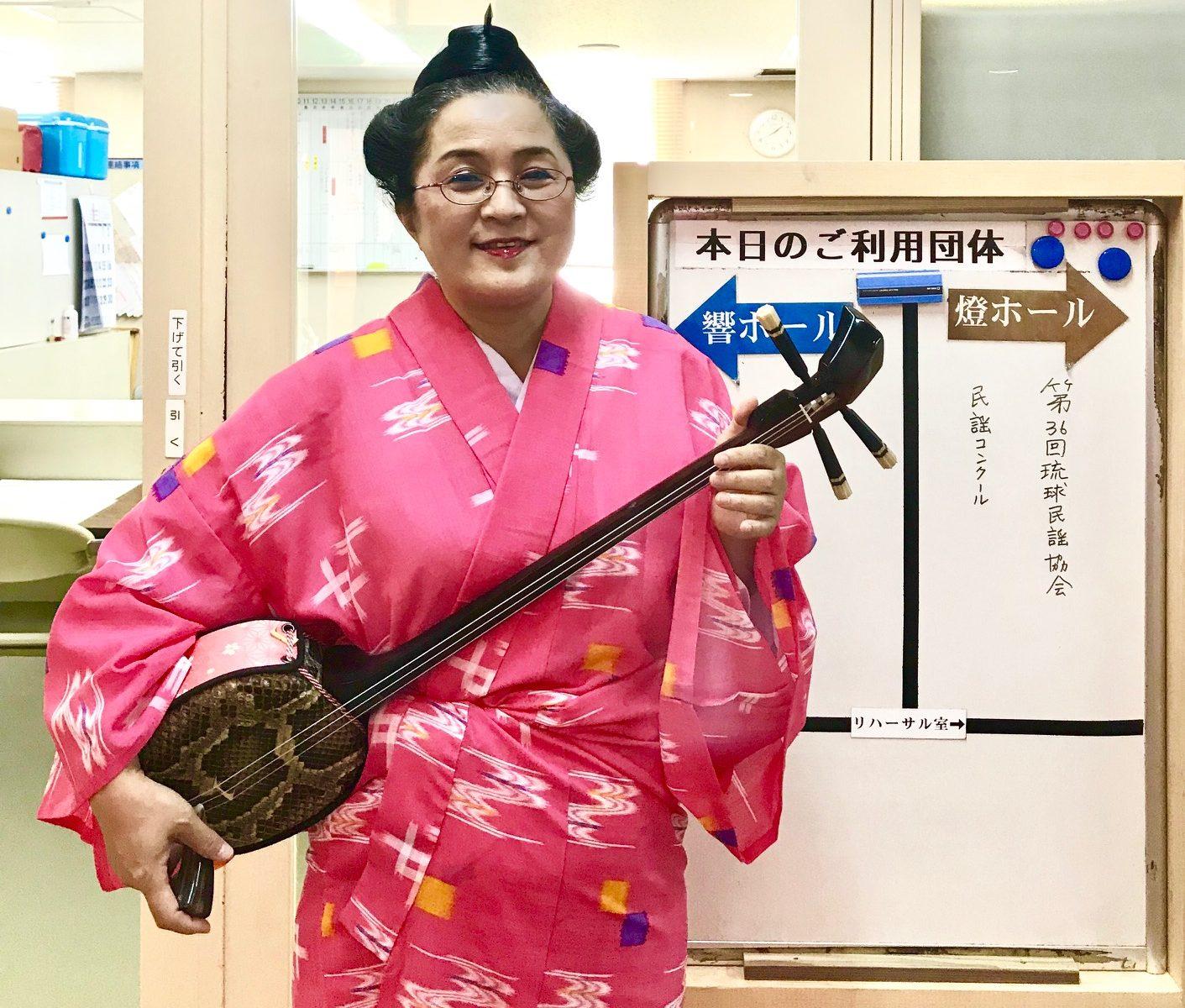 琉球民謡協会コンクール当日、本番前の記念撮影